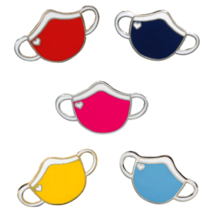 5 masks (yellow, red. pink, navy, and light blue) pins with hearts